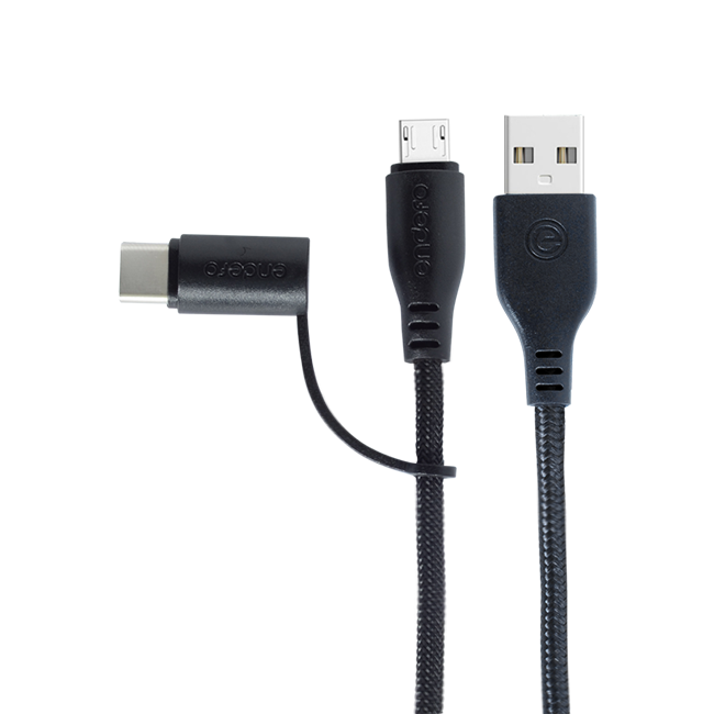 Endefo Two in One (Micro & Type C) Data Cable Black 2.4A