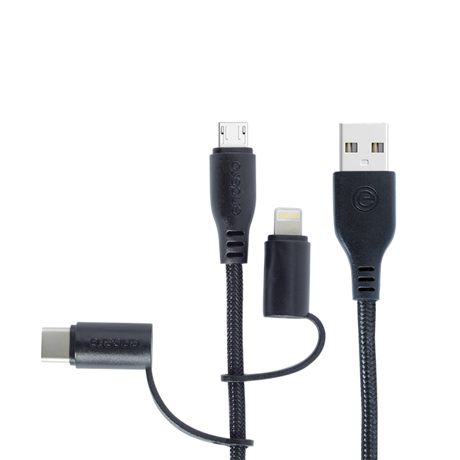 Endefo Three in One (Micro USB,Type C & Lightning) Data Cable Black 2.4A
